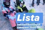 Lista zakwalifikowanych na obóz- Zakopane 2020